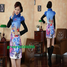 blue Chinese women's embroider winter short sleeves Dress/Cheong-sam S-xx