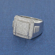 Sterling Silver 925 Micro-Pave Mens Ring Solid Hip hop bling ice CZ Lab Dia