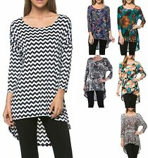 HIGH-LOW HEM, 3/4 SLEEVE, PRINT or FLORAL, SCOOP NECK, TUNIC SHIRT TOP, S M L XL