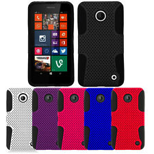 For Nokia Lumia 630 / 635 Dual Layer Hybrid APEX Net Mesh Case Cover