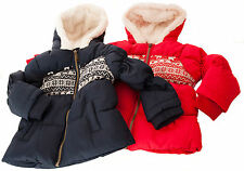 Girls Puffer Jacket New Quilted Winter Hooded Puffa Red Blue Toddler 12M - 3Y