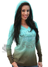 Harley-Davidson Womens Teal / Coffee Ombre Dip Dyed Long Sleeve Hooded T-Shirt