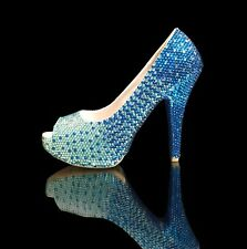 Marc Defang Ombre style luxury crystal heels w crystalized soles Bridal Shoes