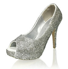Marc Defang Clear Crystals Essential Bridal Wedding Heels shoes pumps