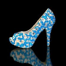 Marc Defang Luxury Capri Blue and Clear Crystals Diamond Frost Bridal Heels