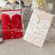 Laser Cut-out Floral Design Wedding Invitations Cards With Envelopes and Seals