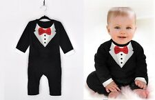 Baby Boy Formal Tuxedo Real Red Bow Cotton Romper Outfit LONG SLEEVE sz 00.0.1.2