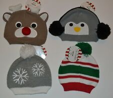 So Dorable Winter Knit Baby Hat Penguin Snow Flake Christmas Ornament Rudolph