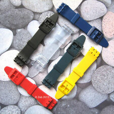 17mm/20mm Resin Plastic Watch Strap [GENTS SIZE] Fits Swatch + New Pins