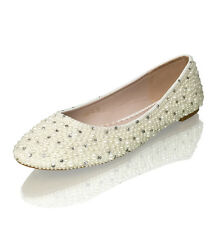 Marc Defang Ivory pearls w clear crystals Luxury Bridal wedding Ballet Flats