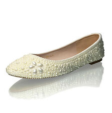 Marc Defang Ivory pearls Luxury Bridal wedding Ballet Flats with Floral Motif