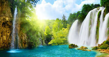 Sisters Waterfall Blue 3D Full Wall Mural Large Print Wallpaper Home Decal Decor