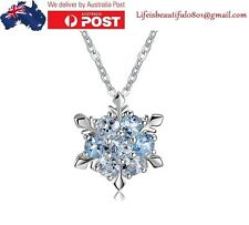 S925 Silver Frozen snowflake Necklace Pendant Swarovski Crystal+Chain+Bag, Gift