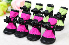Set(4Pc)Dog Pet Top Paw Shoes Boots Winter Warm Anti-slip Booties for Puppy Dogs