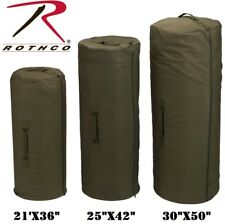 OD GREEN Side Zipper Cotton Canvas Luggage Shoulder Bag Military Duffle Bag  #1