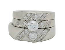 Sterling Silver CZ Engagement Ring & Wedding Ring Trio Set [5 Sizes]