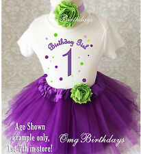 Purple Green Dots Baby Girl 1st First Birthday Tutu Outfit Shirt Set Party Dress