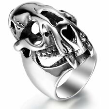 Silver Stainless Steel Gear Gothic Skull Head Casting Band Men's Ring Size 9-13