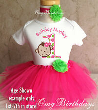 Pink Green Mod Monkey Baby Girl 1st First Birthday Tutu Outfit Shirt Set Party