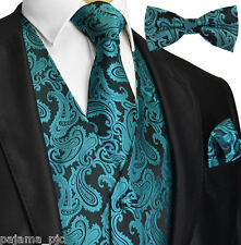 GREEN Paisley Tuxedo Dress Vest Waistcoat & Neck tie & Bowtie And Hanky 20-Z