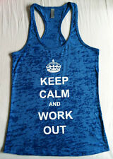 KEEP CALM and WORK OUT Burnout Racerback Fitness Gym Tank Top Tshirt 5 sizes