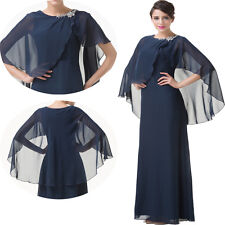 Chiffon Bridal of the mother Long dress Cape Style Bridesmaid dress navy Outfits