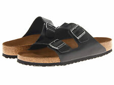 Birkenstock Womens ARIZONA Black Amalfi Leather SOFT FOOTBED Sandals Shoes 55233