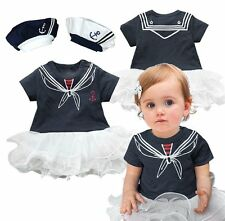 Baby Girl Sailor Tutu Dress Carnival Party Costume Dress Outfit+HAT Set 3-18M