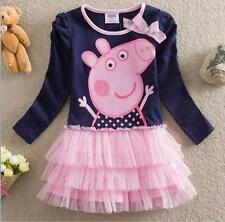 Cute Peppa Pig Girls long sleeved Tulle Tutu Skirt Top Dress Bowknot