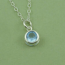 Birthstone Crystal Necklace - 925 sterling silver, small birthstone pendant
