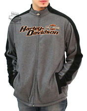 Harley-Davidson Mens Ominous Road Charcoal & Black Full Zip Mock Chiller Fleece
