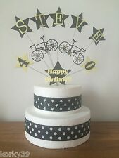 BICYCLE & STARS  CAKE TOPPERS ANY NAME/ANY COLOUR & AGES 1 - 100