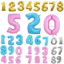 """Helium Foil Balloon 16"""" 40'' Number Gold Silver 0-9 Wedding Birthday Party Decor"""