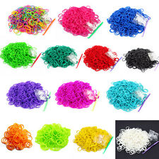 600Pcs DIY Rainbow Loom Rubber Bands Bracelet Colorful Making Kit box S Clips