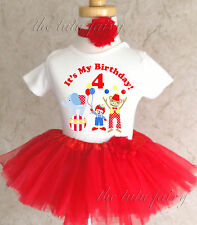 Red Circus clown monkey big top Girl 4th Fourth Birthday Tutu Outfit Shirt Party