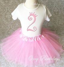 Light Pink Princess Crown party 2nd Second Girl Birthday Shirt Tutu Outfit Set