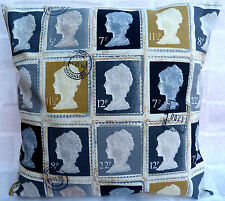 """Prestigious Vintage Stamp Charcoal Cushion Cover 16"""" 18"""" 20"""" 22"""" 24"""""""
