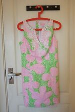 Lilly Pulitzer Gabby Shift Dress Cotton Limeade Cheat Ya Print Size 2 4