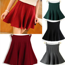 Sexy Womens Stretch High Waist Pleated Candy Color Skirt Mini Skirt Short Skirt