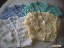 Hand Knitted Baby Cardigan Size 3-6 Months.