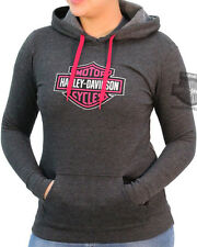 Harley-Davidson Womens Pink B&S Charcoal Grey Pullover Hooded Sweatshirt