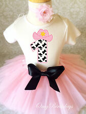 Cowgirl Cow Print Light pink Girl 1st First Birthday Tutu Outfit Shirt Party