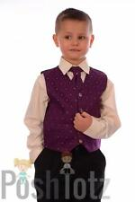 Boys Suits. Formal, Wedding, Page-Boy. 4 Piece Purple & Black Suit 0-3mths-15yrs