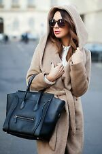ZARA belted fur coat with hood dark camel beige wool jacket rare bloggers Large