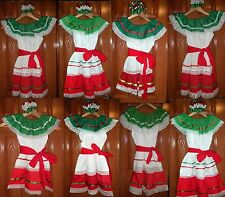 Girls & Toddlers Tri-Color Dresses For Mexico's Folklorico 5 De Mayo Fiesta NWOT