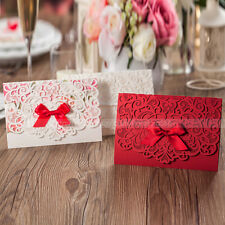 Delicate Laser Cut Wedding Invitations Cards With Bowknot and Envelopes, Seals