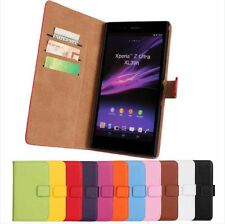 Luxury Genuine Leather Wallet Flip Case Cover For for Sony Xperia Z Ultra XL39h