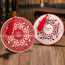 Personalized Laser Cut Round Shaped Wedding Invitations Cards & Envelopes, Seals