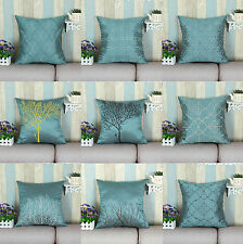 Teal Cushion Covers Pillows Shell Vintage Embroidery Various Geo Tree 45 X 45cm