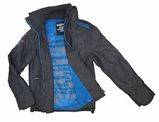 New Mens Superdry Technical Impact Windcheater Jacket - Charcoal/Denby Blue